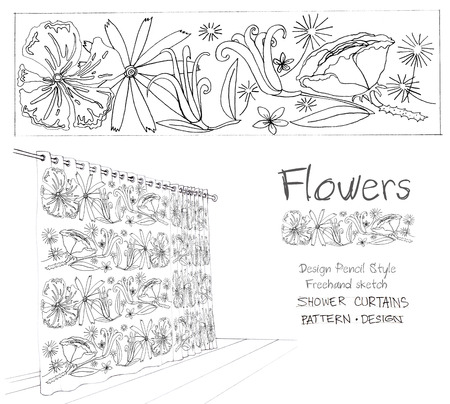 art product: Shower curtain flowers pattern design art work one color is black pencil style freehand sketch for screen print idea of your decorate product and production for sale whole sale and retail