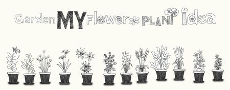 so that: Many flower varieties technical drawing freehand sketch of the idea. And the fact that it was adapted so as to take a picture for art line pattern or card and tasks.