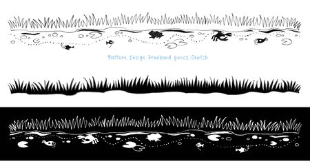 marsh: Cartoon animal life in the swamps along the marsh pencil freehand sketch pattern design black and white color Stock Photo
