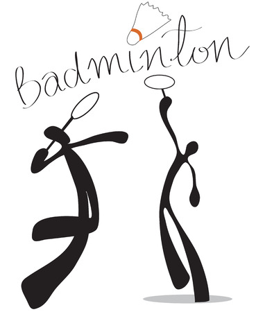 badminton: Playing badminton indoor sports symbol Shadow man cartoon design for card sign sticker or advertisement background isolate Illustration