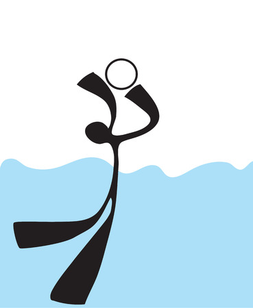 pool symbol: Share ball playing in the pool  symbol Shadow man cartoon design for card sign sticker or advertisement background isolate