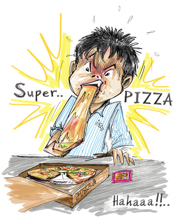 stretchy: People eating pizza Very stretchy cheese kidding Joke idea for TV guide illustration Column in magazine or website about Eating healthy food Stock Photo