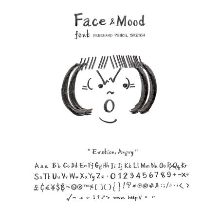 pencil sketch: Face mood woman angry cartoon creation idea from font freehand pencil sketch and you can use the icon in your business or sign card you  can do many thing Stock Photo