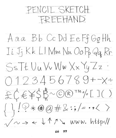 pencil sketch: English font freehand alphabet pencil sketch art character design and symbol
