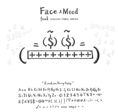 lucky man: Face mood man smile his eyes the money he very lucky get rich now this cartoon creation idea from font freehand pencil sketch and you can use the logo in your business or sign card you  can do many thing Stock Photo