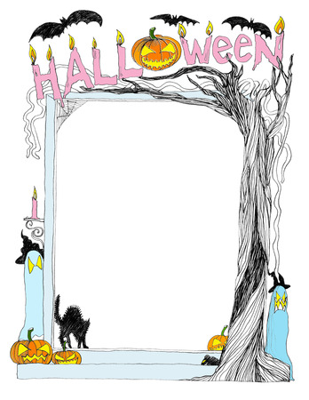 Halloween frame card banner cartoon freehand pencil sketch design black and white