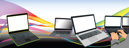 notebook design: Computer service man working Labtop or Notebook computer modern design many color and have rainbow background Illustration