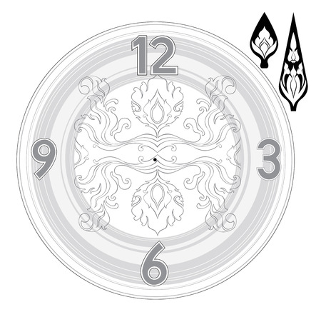 art product: Thai art line clock product design or wall paper pattern print