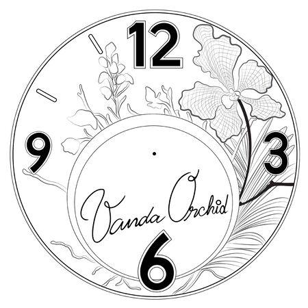 orchid: Vanda clock pattern design art work black and white