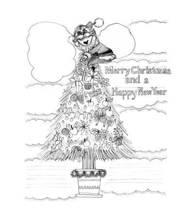 acting: Santa Claus Welcome acting Happy new year & Merry Christmas theme Cartoon freehand pencil sketch for advertisement in brochure banner leaflet sign greeting card.