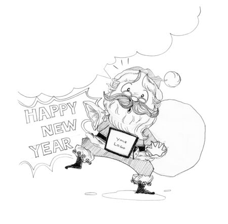 suggestions: Santa Claus Welcome acting Happy new year & Merry Christmas theme Cartoon freehand pencil sketch for advertisement in brochure banner leaflet sign greeting card.