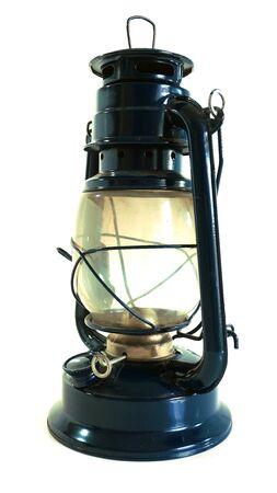 oil lamp: Oil lamp blue color antiuqe design background isolate