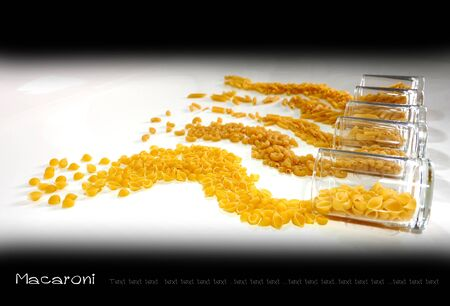 edibles: Macaroni five pattern in glass and design alignment to show product