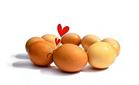 the first love: Eggs lover conceptgraphic design first kiss and in love very happy for illustration background isolate. Stock Photo