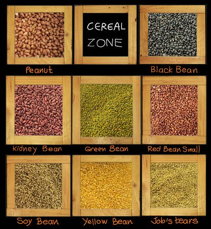 raw material: Cereal for diet raw material have bean soy peanut red black yellow in wood frame