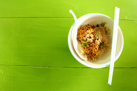souse: Chinese dry noodle made from eggs and powder from Thailand Asia is favorite and very delicious Stock Photo