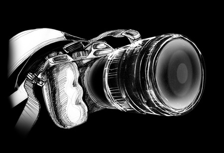 Camera body design and pencil freehand sketch by me on background black color