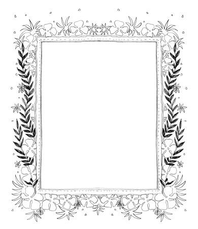 flora: Frame Flora frame pencil freehand sketch design by me