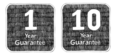 Guarantee 1 and 10Year pencil freehand drawing art idea design for packaging t-shirt sign sticker Stock Photo