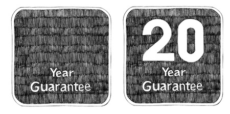 Guarantee sign and 20 Year pencil freehand drawing art idea design for packaging t-shirt sign sticker