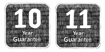 10 11 years: Guarantee 10 and 11 Year pencil freehand drawing art idea design for packaging t-shirt sign sticker Stock Photo