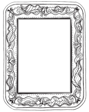 Leave big  and flower frame nature sewing style design black and white color for print product or product picture frame decorate in house Illustration