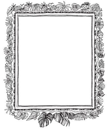 decorate: Leave nature frame pen hand write hand write design black and white color for print product or product picture frame decorate in house