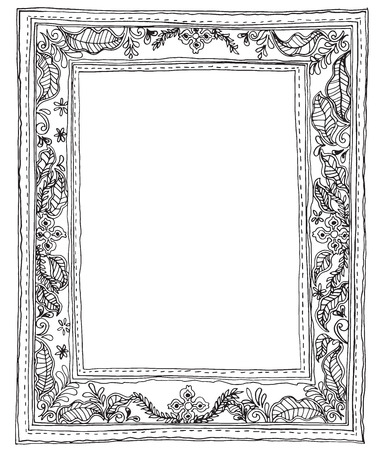 decorate: Leave small frame and sewing style hand write design black and white color for print product or product picture frame decorate in house Illustration