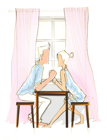 happy couple: Cartoon pencil sketch by me concept in Love Valentine day or marry me illustration Stock Photo