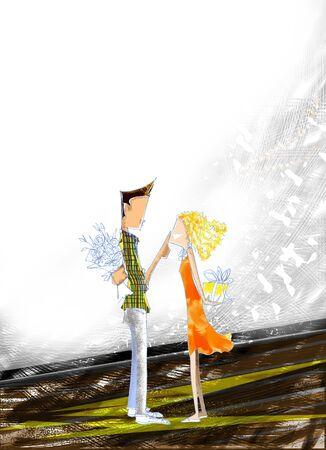 Cartoon Bleistiftskizze von mir Konzept in Love Valentine Überraschungsgeschenk und Liebe Abbildung geben