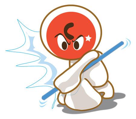 acting: Blackjack acting to attack sport game cartoon cute design