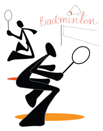 twain: Playing badminton couple team indoor sports symbol