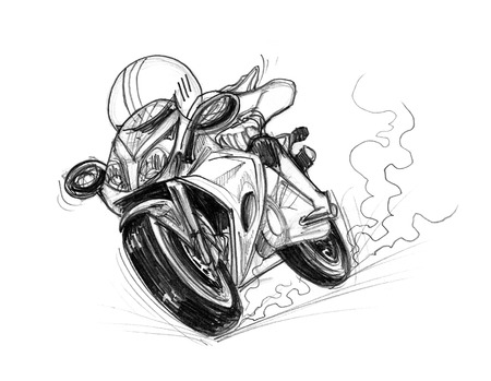 immensely: Bike speedy cartoon pencil sketch free hand black and white color isolated background