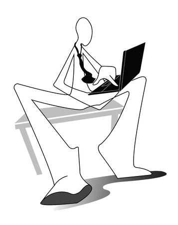 assiduous: Business man working connection social network on computer lab top sit on the chair chesterfield Shadow man white cartoon symbol and design