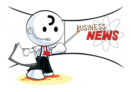 pantomime: Reporter Business News Cartoon pantomime character symbol and design isolated white background