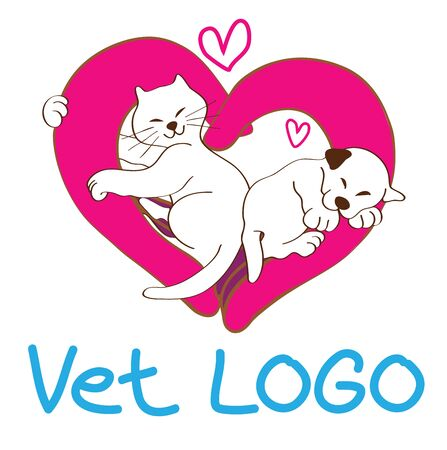 gimmick: Vet  or Veterinary and symbol design concept hand made the same heart shape is symbol care, supervision, protection have cat hug doctor hand and puppy sleeping very happy in hand pink color and small hart gimmick to say love this doctor hand feeling warm Illustration