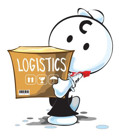 pantomima: Hombre de servicios log�sticos de transporte o carga pantomima actuaci�n de dibujos animados hombre de negocios y dise�o del s�mbolo