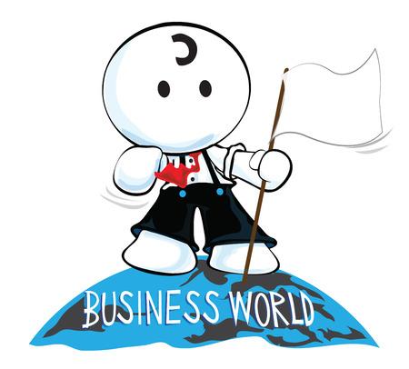 pantomima: La parte superior de mundo de los negocios tiene el hombre con la bandera de pie en la pantomima de dibujos animados mundo y dise�o del s�mbolo