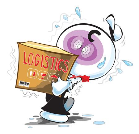 pantomime: Servicio Log�stico hombre m�s pesado o carga Transporte pantomima actuaci�n de dibujos animados hombre de negocios y dise�o del s�mbolo