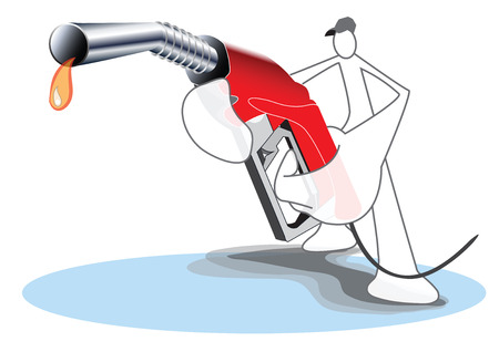 Fuel Nozzle and Gas station attendant Shadow Man symbol cartoon and graphic design for your business to present