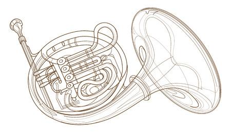 Horn goud koperblazers geïsoleerd achtergrond computer grafisch ontwerp ter illustratie symbool
