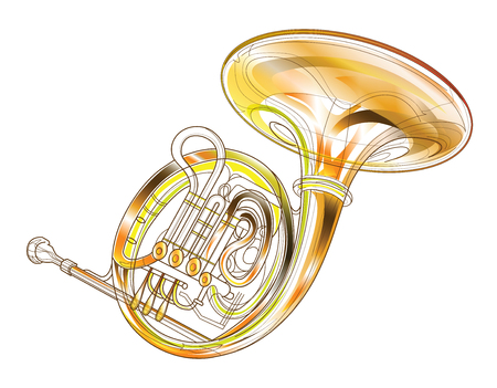 casing: Horn gold brass instruments isolated background computer graphic design for illustration symbol