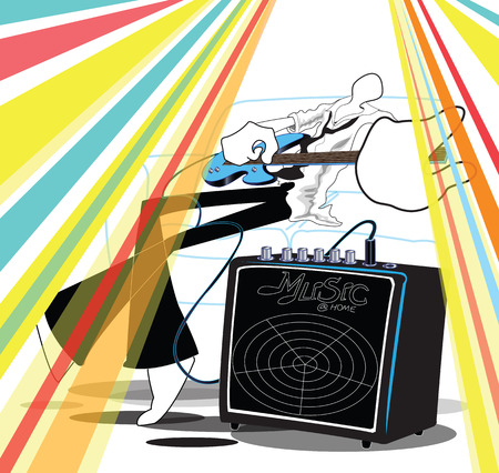 guitar amplifier: Shadow Man playing guitar relax after work cartoon acting , symbol and illustration art work design about the Guitar Amplifier you can change your product and for advertise.