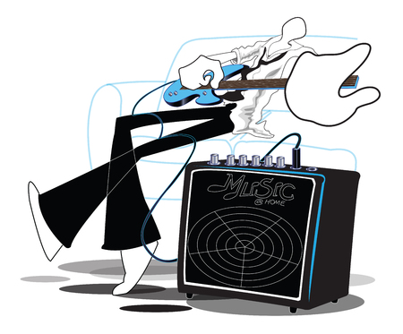 man playing guitar: Shadow Man playing guitar relax after work cartoon acting , symbol and illustration art work design about the Guitar Amplifier you can change your product and for advertise.