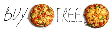 buy one: Pizza Promotion buy one get one free isolated white background