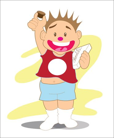 Boy and Chocolate presenter cartoon with your product in t-shirt and box. The cartoon acting concept freedom for eat or diet concept this acting parody from Liberty for your concept link.