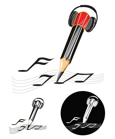 Composer symbol design key visual is pencil have listen  headphone and writing music note have one color art work in black and white color Illustration