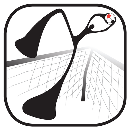 soccer goal: Shadow man goal jumping pick up ball in soccer team symbol and graphic design Illustration