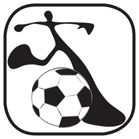 sports equipment: Shadow man to start the game in soccer team just kicking ball symbol and graphic design