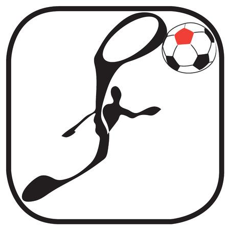kick ball: Shadow man football sky kick ball in soccer team symbol and graphic design